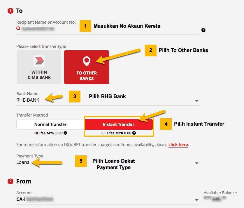 cara bayar loan kereta RHB melalui cimb clicks